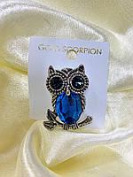 Шикарная брошь сова с большим голубым камнем