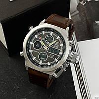 Армейские наручные часы AMST 3003 Silver-Black Brown Wristband