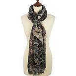 Палантин шерстяной 10167-18, павлопосадский шарф-палантин шерстяной (разреженная шерсть) с осыпкой, фото 2