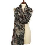 Палантин шерстяной 10167-18, павлопосадский шарф-палантин шерстяной (разреженная шерсть) с осыпкой, фото 3