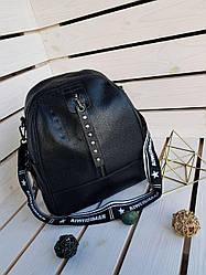 Шкіряний жіночий рюкзак розміром 30х28х12 см Чорний (01090)