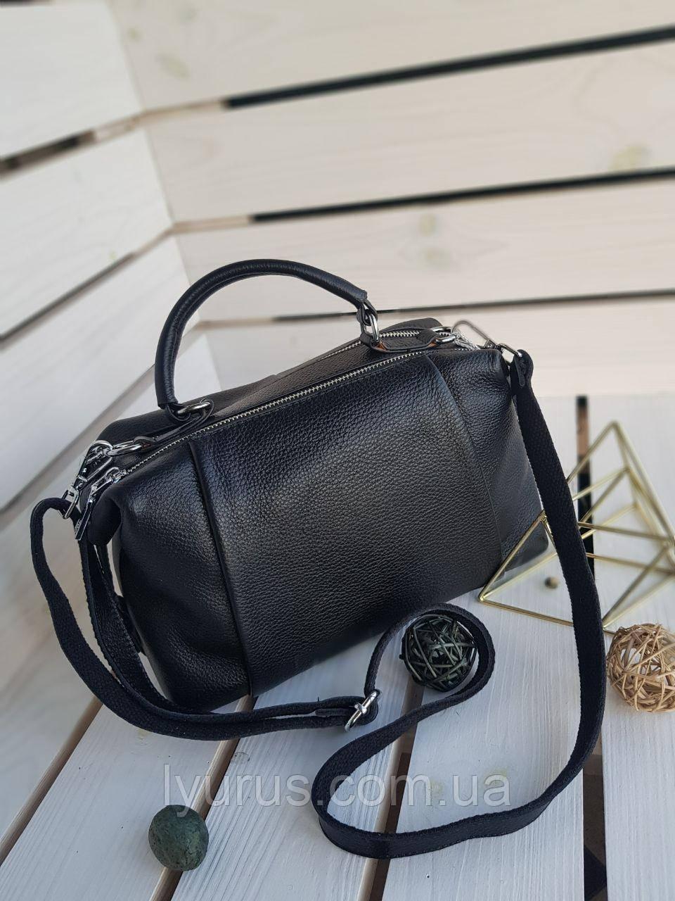 Кожаная женская сумка размером 25х30 см Черная
