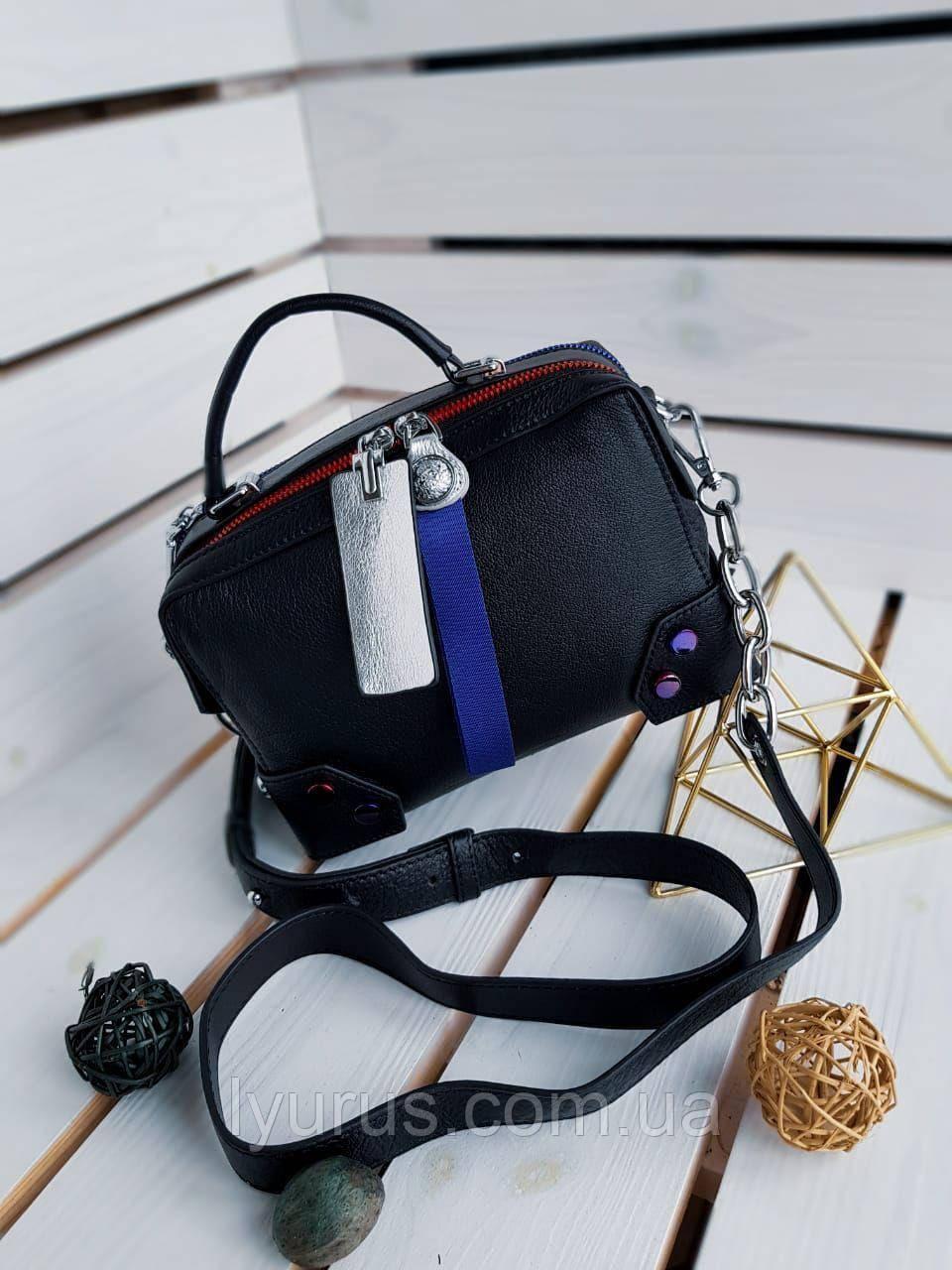 Кожаная женская сумка размером 22х16 см Черная (01081)