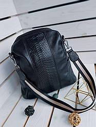 Шкіряний жіночий рюкзак розміром 33х28 см Чорний
