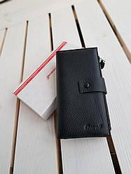 Кожаный женский кошелек размером 19х9,5х2 см Черный с разноцветными вставками