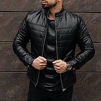 Куртка мужская кожаная весенняя осенняя Bund x Black / ЛЮКС качество