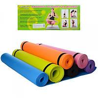 Коврик для йоги EVA 4мм 173х61см, M0380-1