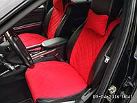Накидка на сидения из алькантары красные, широкие, передние (2шт)
