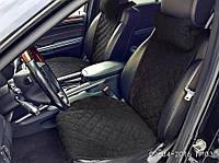 Накидка на сидения из алькантары черные, широкие, передние (2шт)