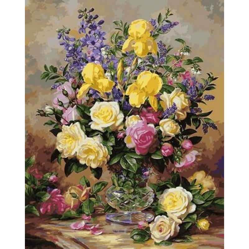Раскраска по номерам Желтые ирисы и розы VPS1051 Babylon Turbo 50 х 65 см