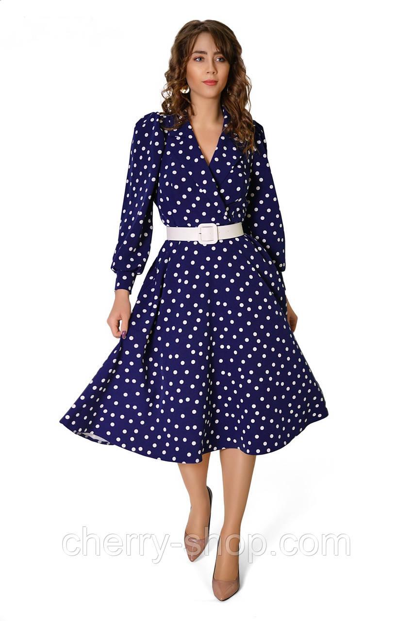 Жіночна сукня модного фасону в трендовий принт - білий горошок на синьому тлі