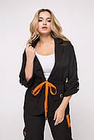 Женский черный пиджак с кулисой-утяжкой по линии талии (Арлуно lzn)