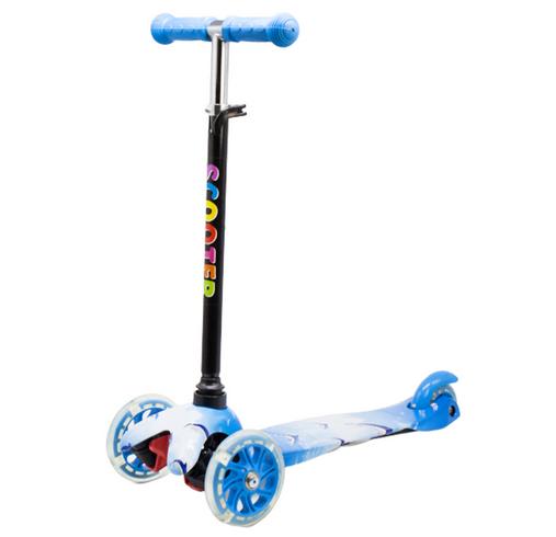 Самокат детский трехколесный колеса с световыми эффектами. Голубой