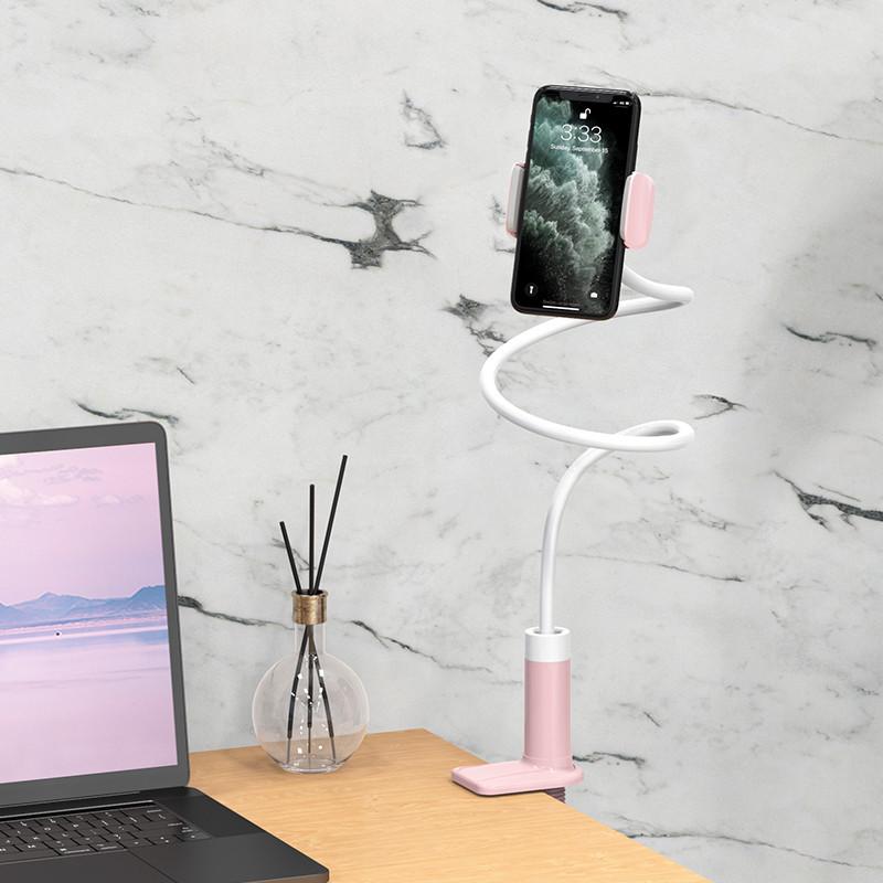 Тримач для телефону Hoco PH-23 Pink гнучкий. Універсальний тримач для телефону