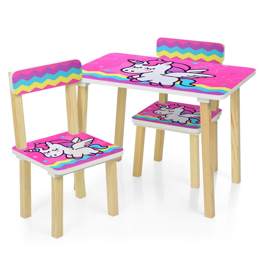 Детский столик и стульчики расцветки для девочки