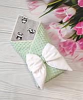 Плюшевый конверт-плед Минки на выписку из роддома. Мятный/панды