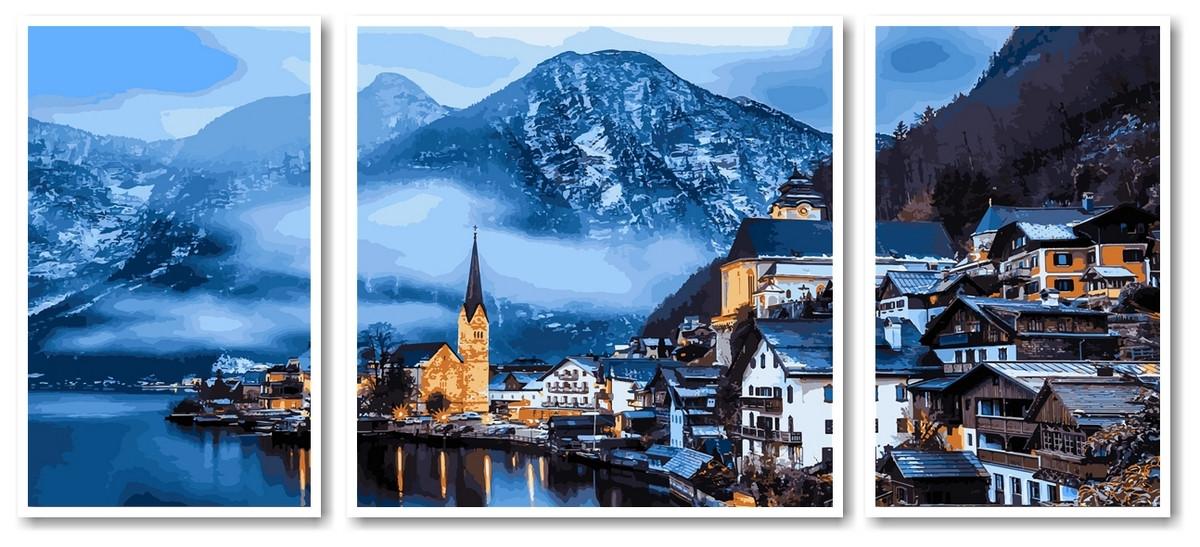 Картина по номерам Babylon Триптих Зимняя Австрия (VPT051) 50 х 150 см