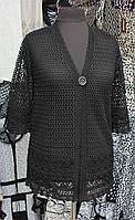 Черная строгая накидка ажурной вязки