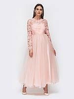 Пудровое платье на выпускной 48