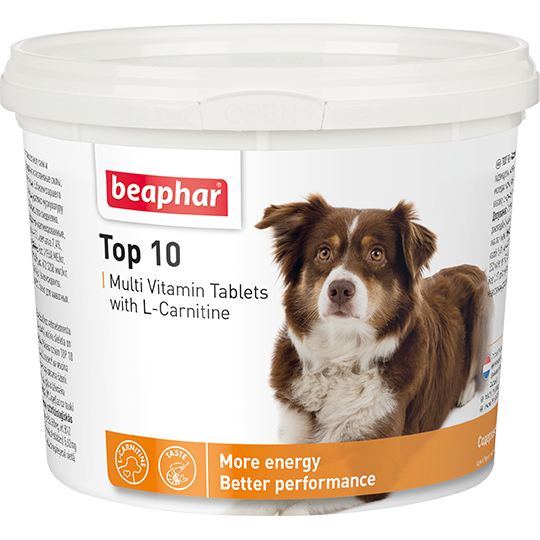 Кормовая добавка Top 10 с L-карнитином для собак 180 табл.