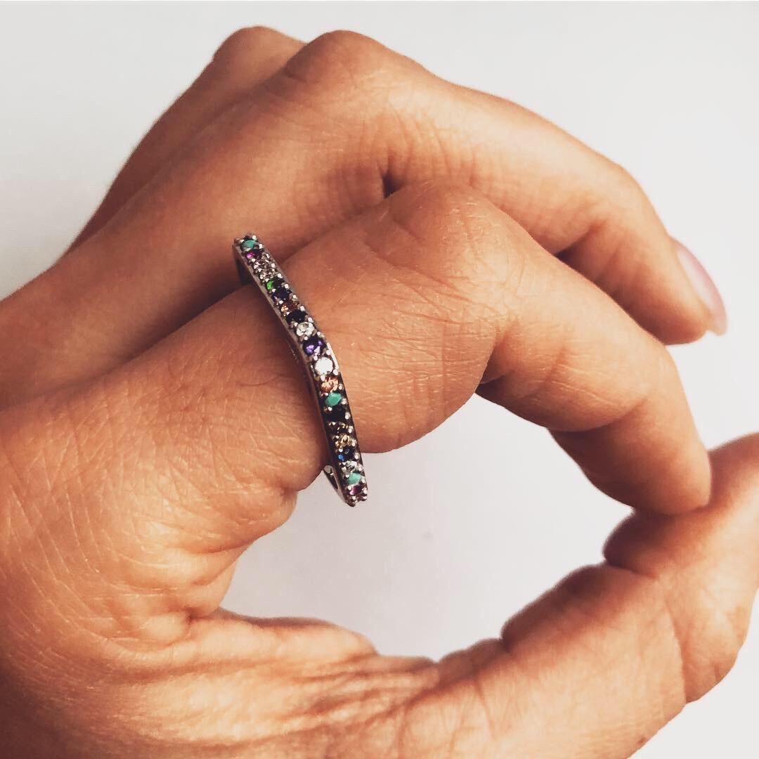 Кольцо из серебра с камнями Swarovski Beauty Bar квадрат цветное (размер18,5 -19
