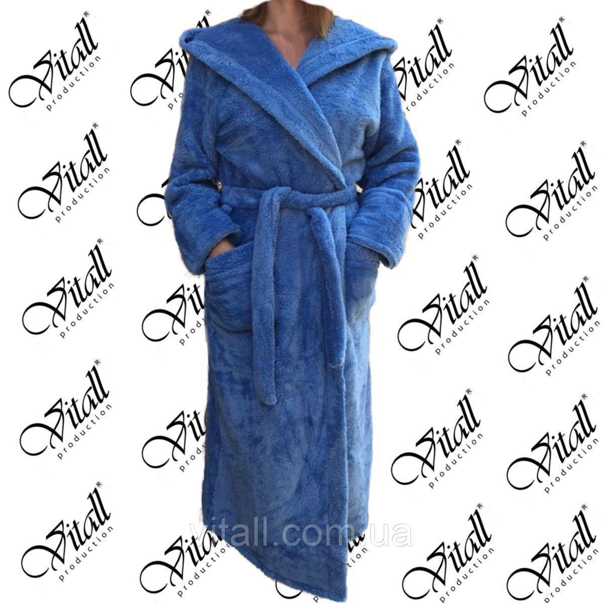 """Vitall Халат махровый длинный с капюшоном """"голубой"""" 67vital"""