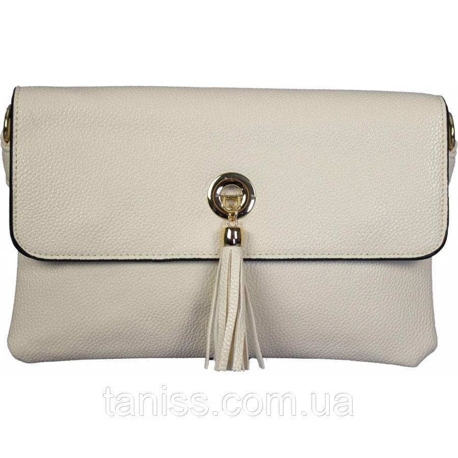 Женская,стильная,элегантная сумка,клатч,материал кожзам, длинная ручка,пять отделений,украшение кисточка(3161)