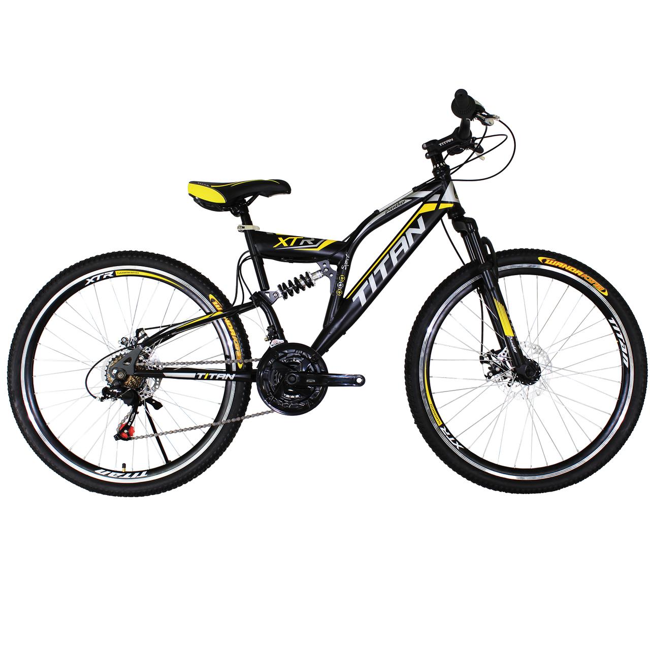 """Горный велосипед двухподвесный 26"""" Titan Panther черный неоново-желто белый"""