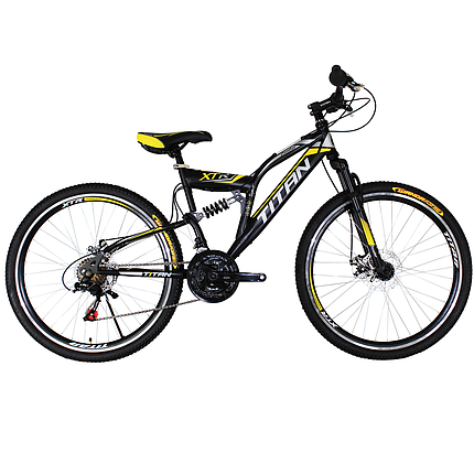 """Горный велосипед двухподвесный 26"""" Titan Panther черный неоново-желто белый, фото 2"""