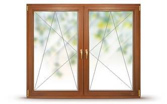 Окно деревянное со стеклопакетом, двустворчатое, две створки поворотно-откидные (с перемычкой между створками)
