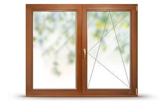 Окно деревянное со стеклопакетом, двустворчатое комбинированное, одна створка поворотно-откидная