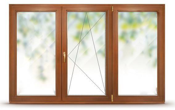 Окно деревянное со стеклопакетом, трехстворчатое комбинированное, одна створка поворотно-откидная