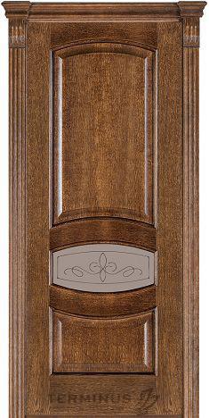 Межкомнатная дверь для квартиры Модель 50 дуб браун, остекленная