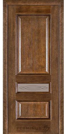 Межкомнатная дверь для квартиры Модель 53 дуб браун, остекленная
