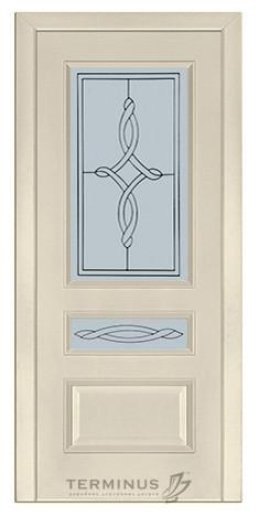 Межкомнатная дверь для частного дома Модель 53 ясень Crema, остекленная