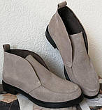 Loro Piana! Женские лоферы туфли полу ботинки натуральная бежевая замша Лора Пиана, фото 9