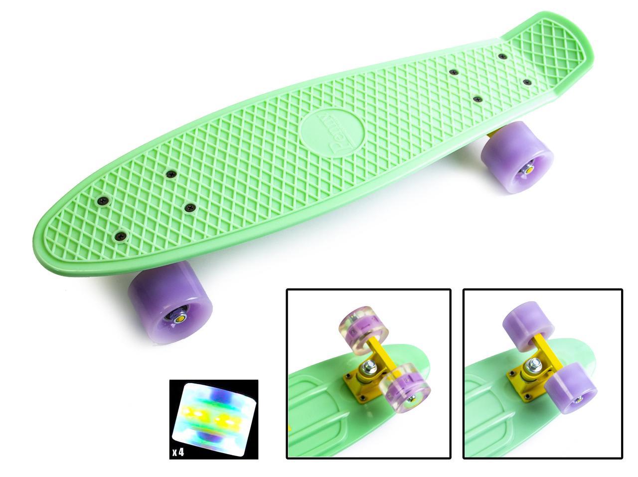 """Скейт """"Penny Board"""" Mint (М'ятний). Світяться колеса"""