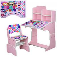 Детская парта-трансформер со стульчиком, B 2071-53-1 Совы розовая