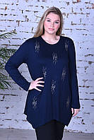 Туника трикотажная для женщин декор-камни размер полубатал 48-56, темно-синего цвета