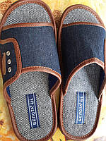 Тапочки подростковые комнатные с открытым носком, синие, размеры 36-41.