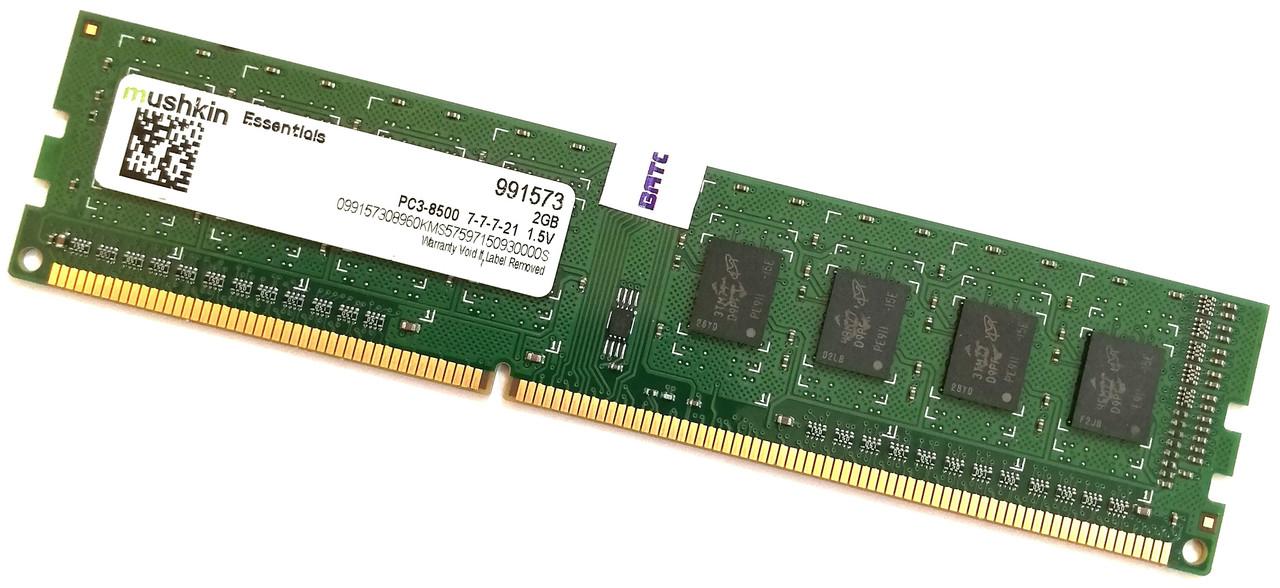 Оперативная память Mushkin DDR3 2Gb 1066MHz PC3-8500U 1R8 CL7 (991573) Б/У