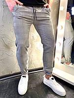 Мужские серые классические брюки, мужские классические штаны в клетку