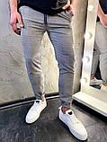 Мужские серые классические брюки, мужские классические штаны в клетку, фото 2