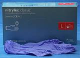 """Перчатки нітрілові сині універсальні Mercator Nitrylex """"L""""  100 штук або 50 пар., фото 2"""