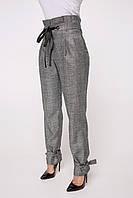 Женские серые брюки высокой посадки  с люверсами и завязками (Палазо lzn)