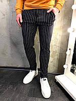 Мужские черные классические брюки, мужские классические штаны в полоску
