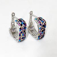 Сережки зі срібла Beauty Bar англійська застібка з різнокольоровими каменями Swarovski квадрати широкі, фото 1