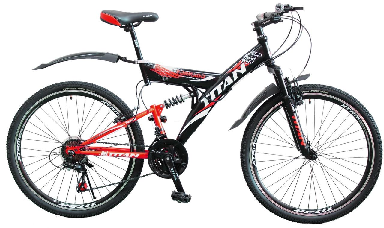 """Горный велосипед двухподвесный 26"""" Titan Tornado красно черный"""