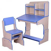 Детская парта-трансформер со стульчиком, F 2071-4 эко с голубым