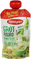 Каша безмолочная готовая Semper Мультизлаковая с йогуртом, яблоком и грушей 120 г, от 6 месяцев